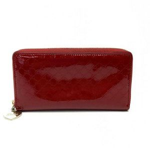 GUCCI Micro GG Zip Around Long Wallet Red Patent L